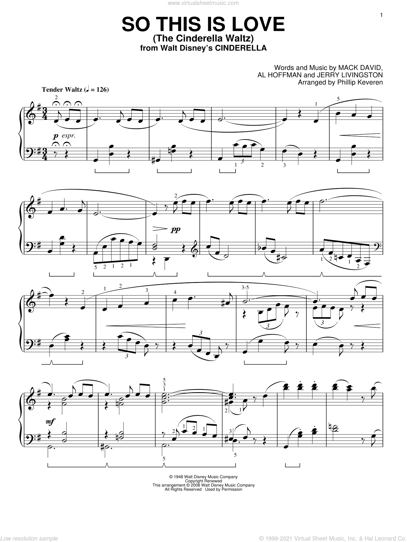 So This Is Love (The Cinderella Waltz) sheet music for piano solo by Mack David, Phillip Keveren, Al Hoffman and Jerry Livingston, intermediate. Score Image Preview.