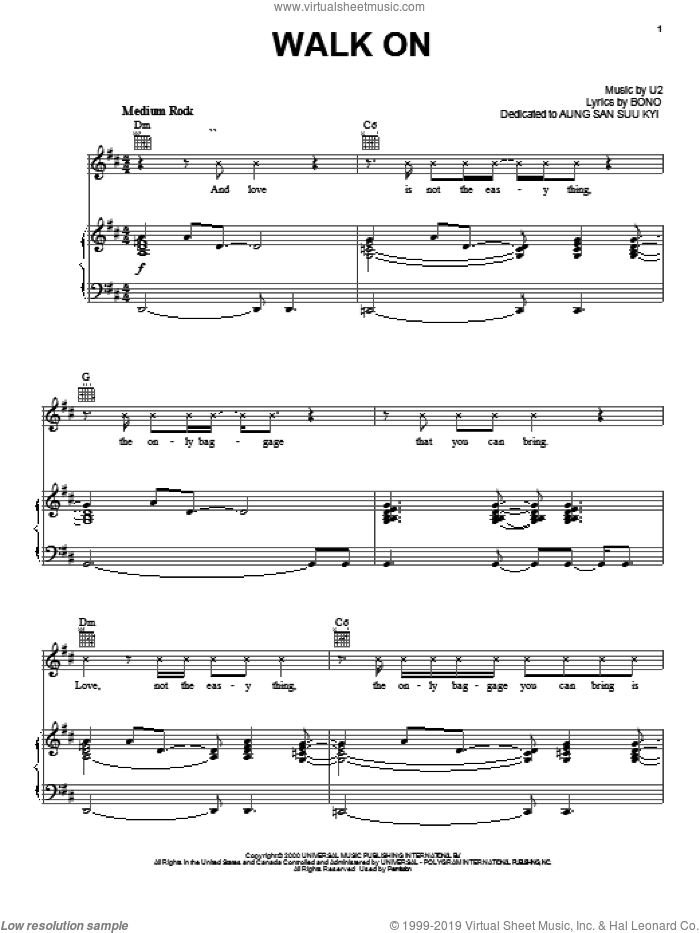 Walk On sheet music for voice, piano or guitar by U2 and Bono, intermediate skill level