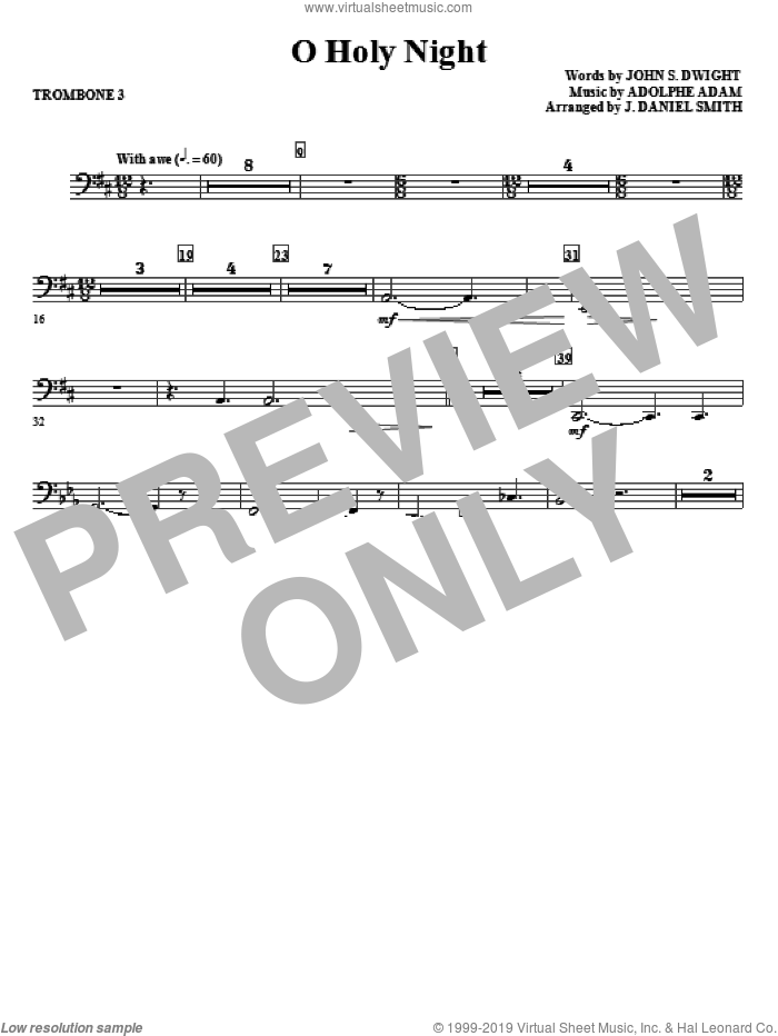 O Holy Night sheet music for orchestra/band (trombone 3) by Adolphe Adam