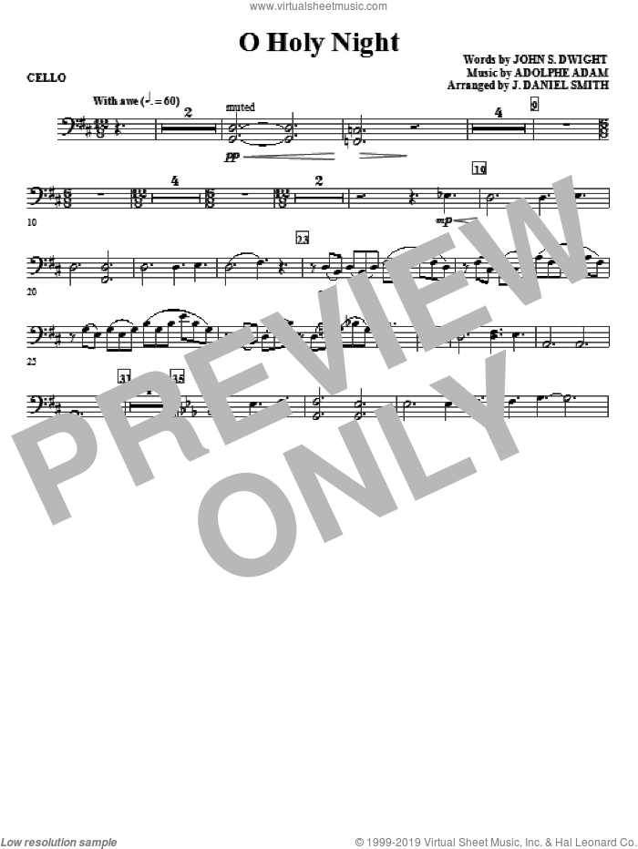 O Holy Night sheet music for orchestra/band (cello) by Adolphe Adam