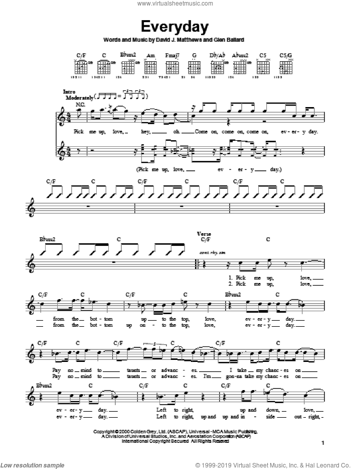 Everyday sheet music for guitar solo (chords) by Glen Ballard and Dave Matthews Band. Score Image Preview.