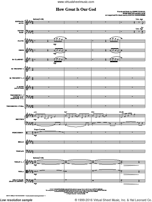 How Great Is Our God (COMPLETE) sheet music for orchestra by Ed Cash, Chris Tomlin, Jesse Reeves and Keith Christopher. Score Image Preview.