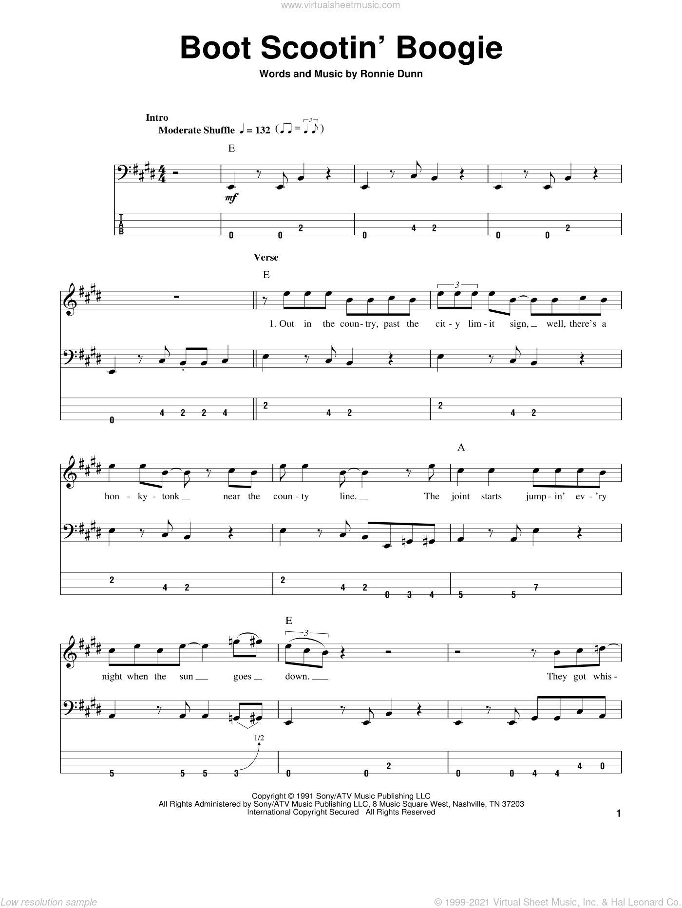 Boot Scootin' Boogie sheet music for bass (tablature) (bass guitar) by Ronnie Dunn and Brooks & Dunn. Score Image Preview.