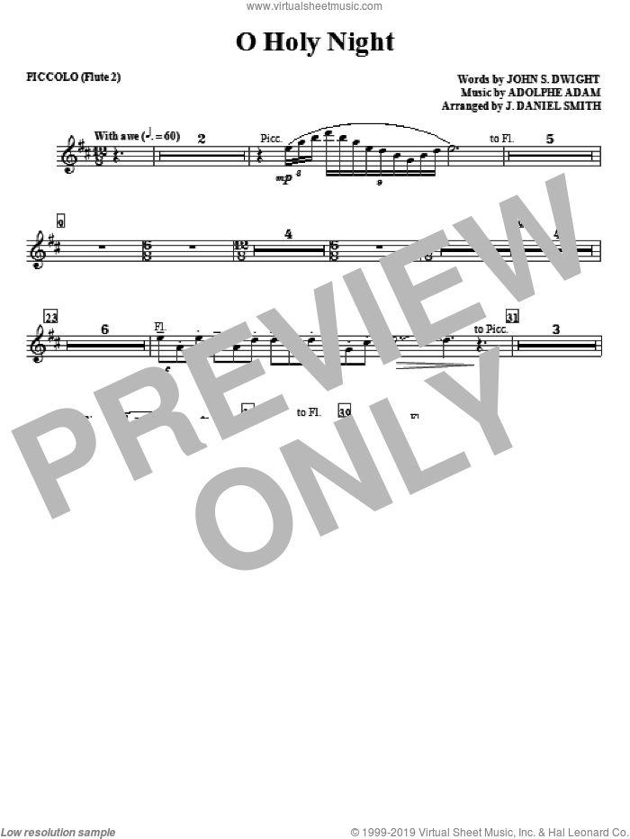 O Holy Night sheet music for orchestra/band (piccolo/flute) by Adolphe Adam