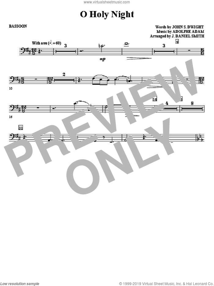 O Holy Night sheet music for orchestra/band (bassoon) by Adolphe Adam