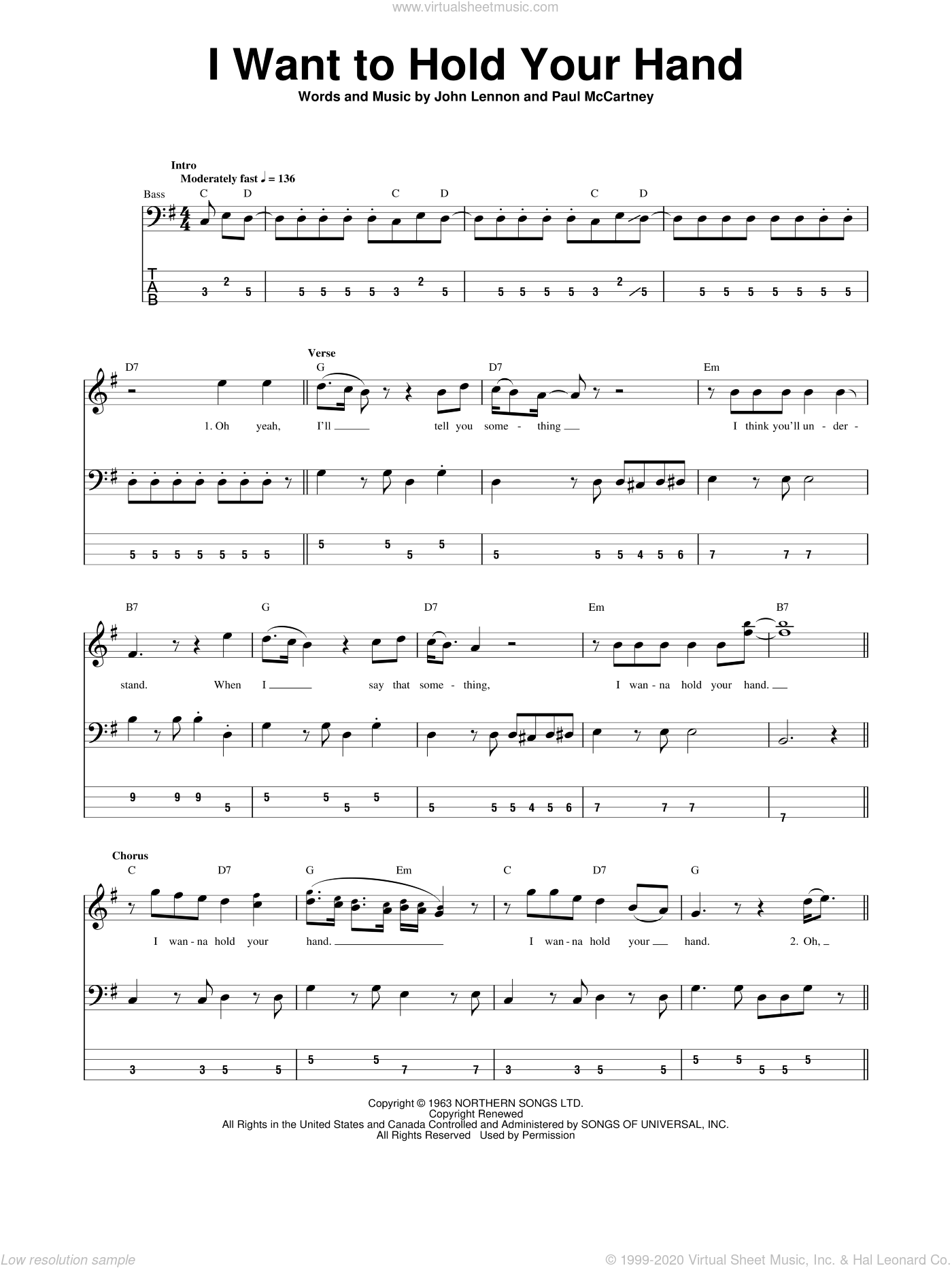 I Want To Hold Your Hand sheet music for bass (tablature) (bass guitar) by Paul McCartney, The Beatles and John Lennon. Score Image Preview.