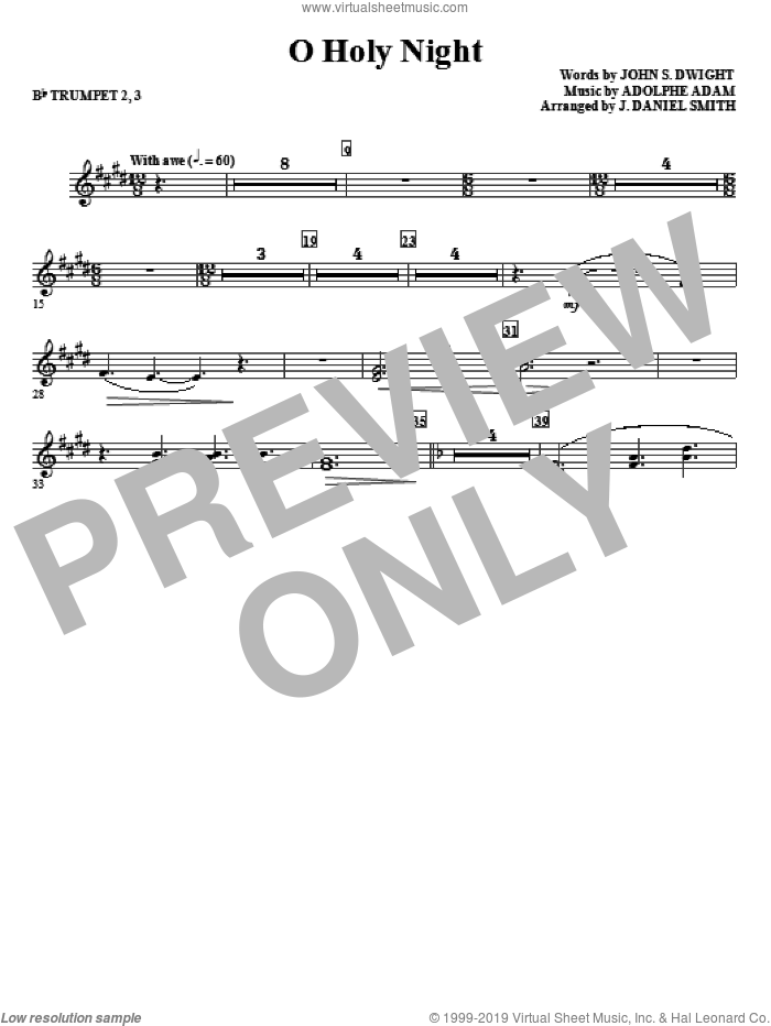 O Holy Night sheet music for orchestra/band (Bb trumpet 2,3) by Adolphe Adam