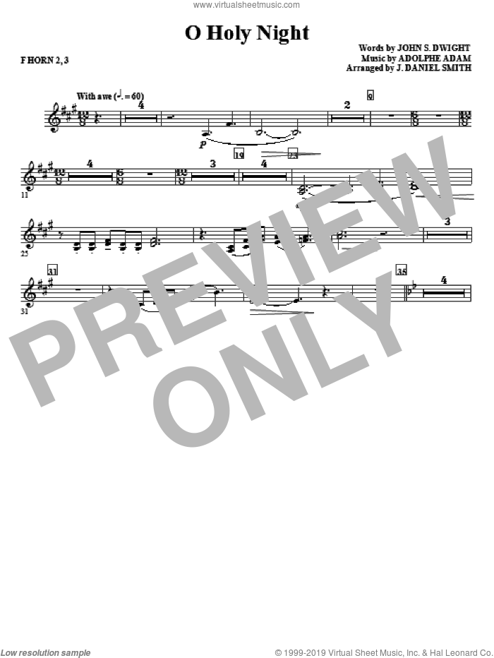 O Holy Night sheet music for orchestra/band (f horn 2,3) by Adolphe Adam