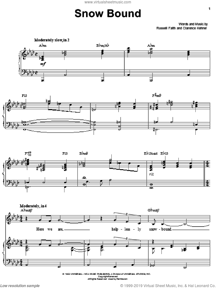 Snow Bound sheet music for voice, piano or guitar by Russel Faith