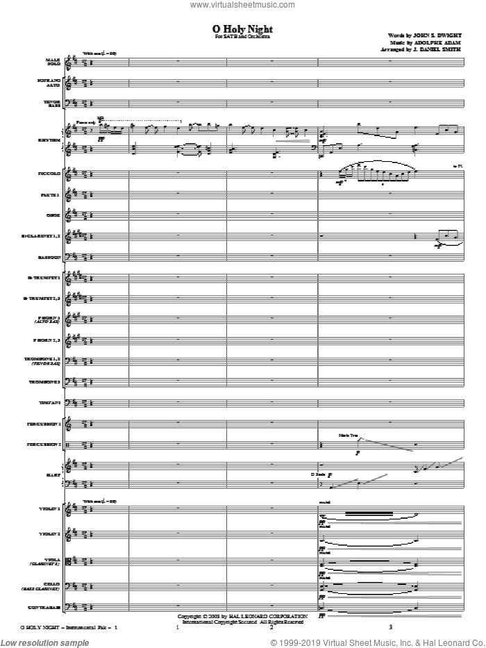 O Holy Night (COMPLETE) sheet music for orchestra/band (Orchestra) by Adolphe Adam and J. Daniel Smith, intermediate. Score Image Preview.