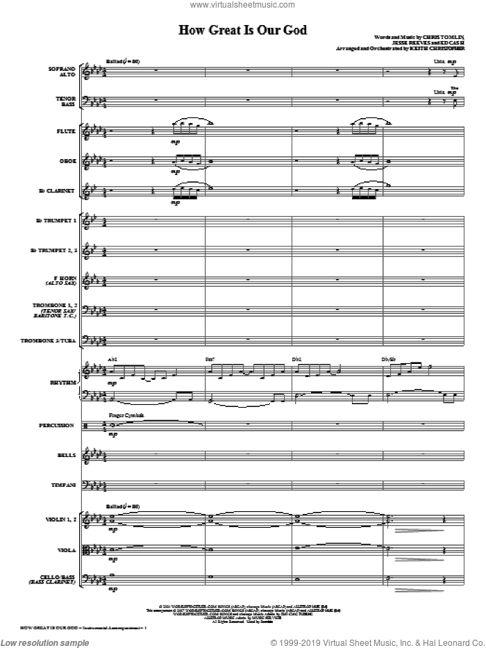 How Great Is Our God (COMPLETE) sheet music for orchestra/band (Orchestra) by Chris Tomlin, Ed Cash, Jesse Reeves and Keith Christopher, intermediate. Score Image Preview.