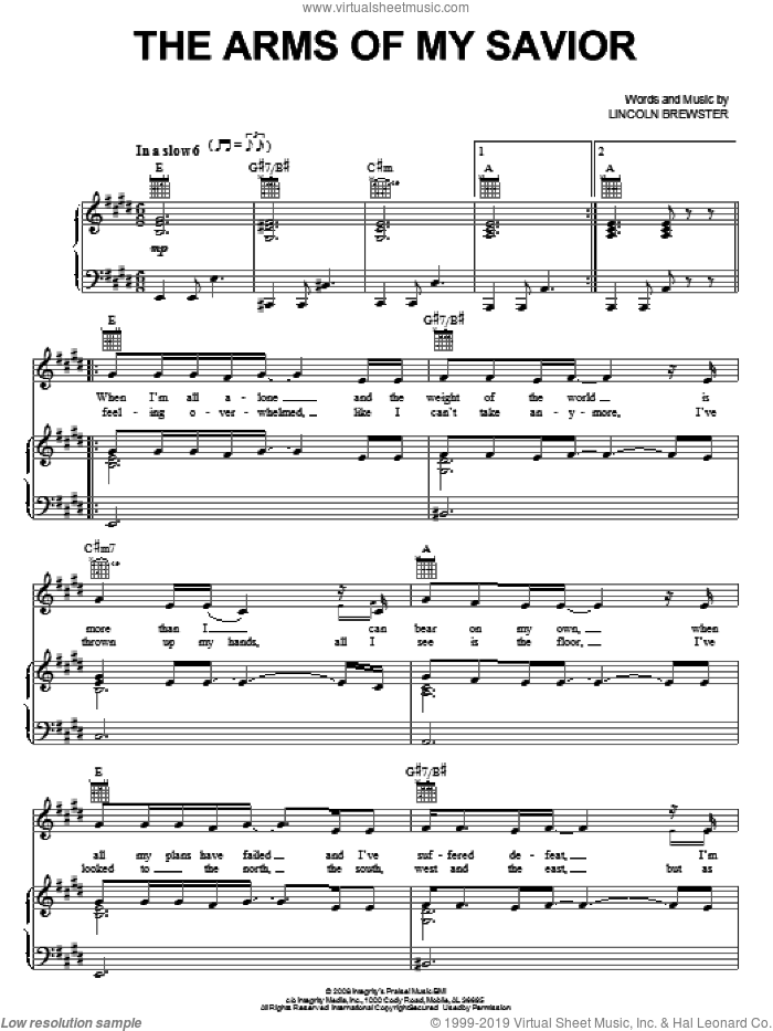 The Arms Of My Savior sheet music for voice, piano or guitar by Lincoln Brewster, intermediate skill level