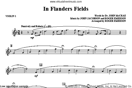 In Flanders Fields (COMPLETE) sheet music for orchestra by John Jacobson