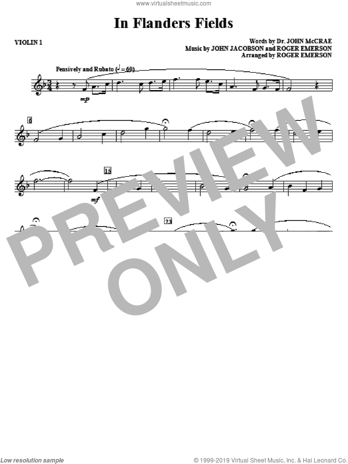 In Flanders Fields (complete set of parts) sheet music for orchestra/band (Strings) by Roger Emerson, John Jacobson and Dr. John McCrae, intermediate skill level