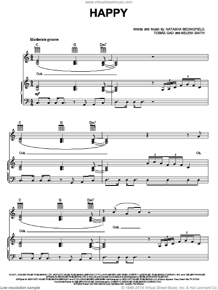 Happy sheet music for voice, piano or guitar by Toby Gad and Natasha Bedingfield. Score Image Preview.