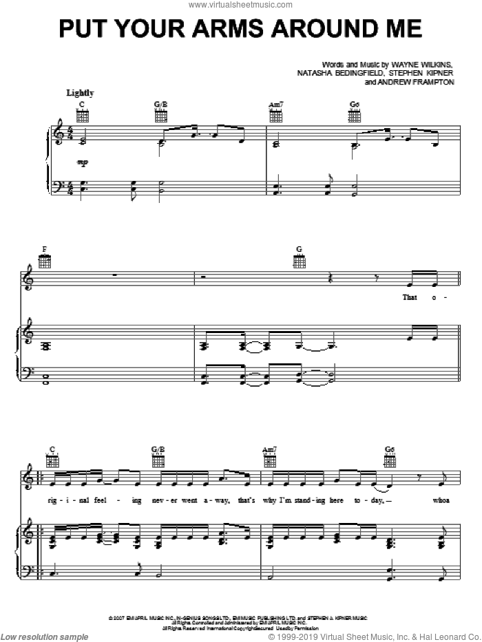 Put Your Arms Around Me sheet music for voice, piano or guitar by Natasha Bedingfield and Andrew Frampton, intermediate voice, piano or guitar. Score Image Preview.