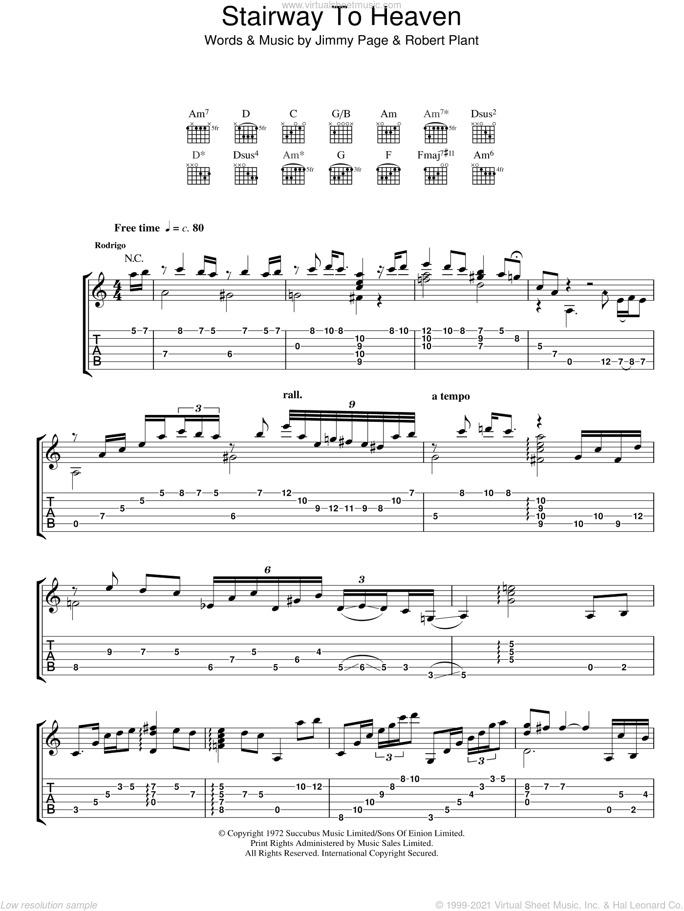 Stairway To Heaven sheet music for guitar (tablature) by Jimmy Page, Led Zeppelin, Rodrigo y Gabriela and Robert Plant. Score Image Preview.