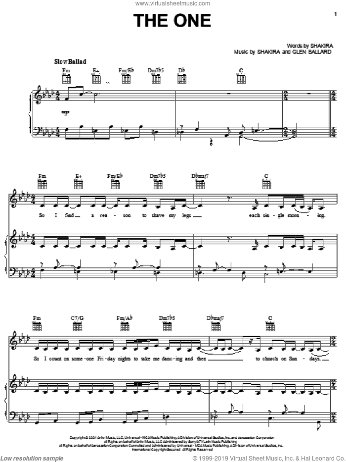 The One sheet music for voice, piano or guitar by Glen Ballard and Shakira. Score Image Preview.