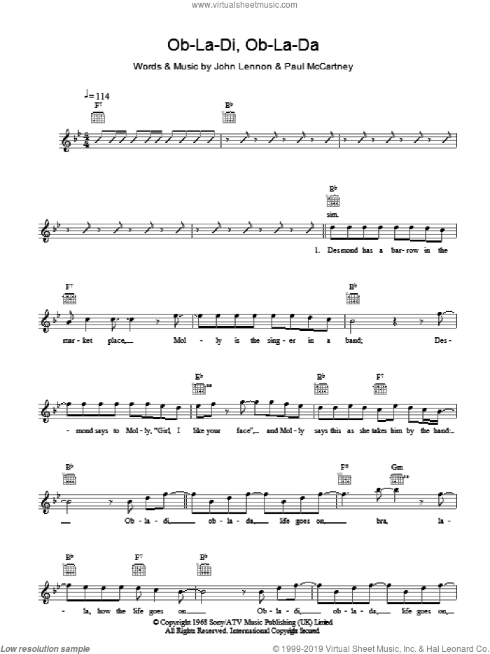 Ob-La-Di, Ob-La-Da sheet music for voice and other instruments (fake book) by The Beatles, John Lennon and Paul McCartney, intermediate voice. Score Image Preview.