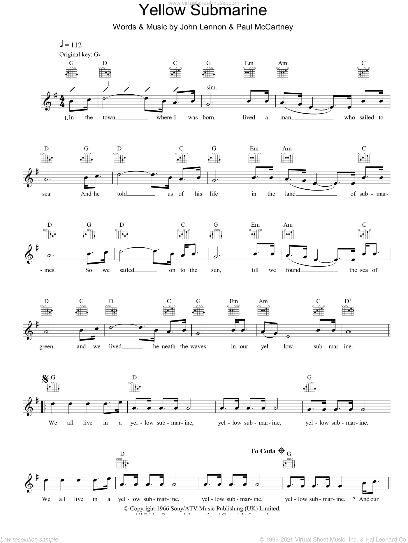 Yellow Submarine sheet music for voice and other instruments (fake book) by John Lennon, The Beatles and Paul McCartney. Score Image Preview.
