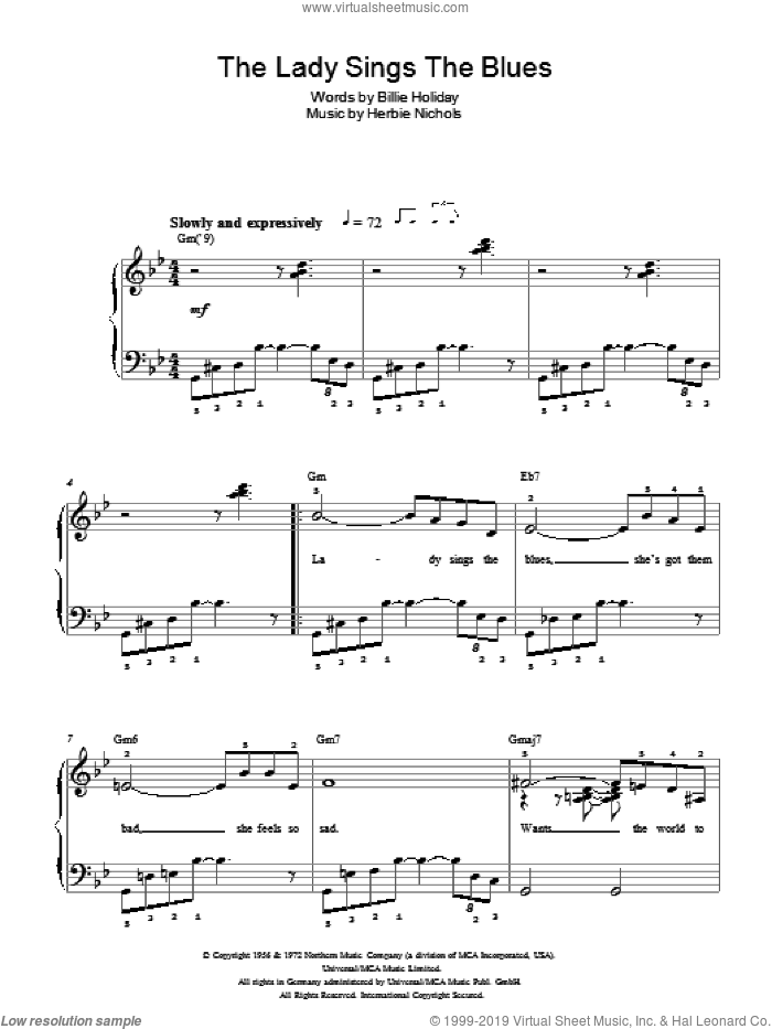 The Lady Sings The Blues sheet music for piano solo by Billie Holiday and Herbie Nichols, easy skill level