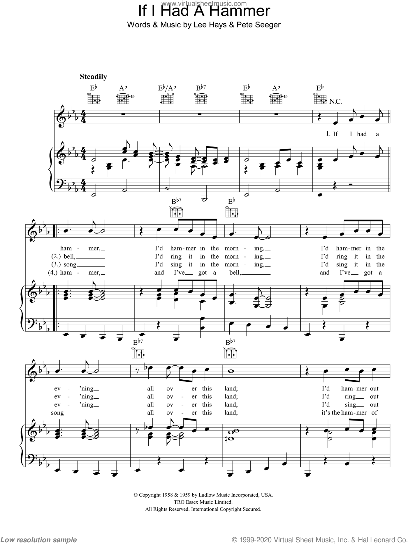 If I Had A Hammer sheet music for voice, piano or guitar by Lee Hays and Pete Seeger. Score Image Preview.