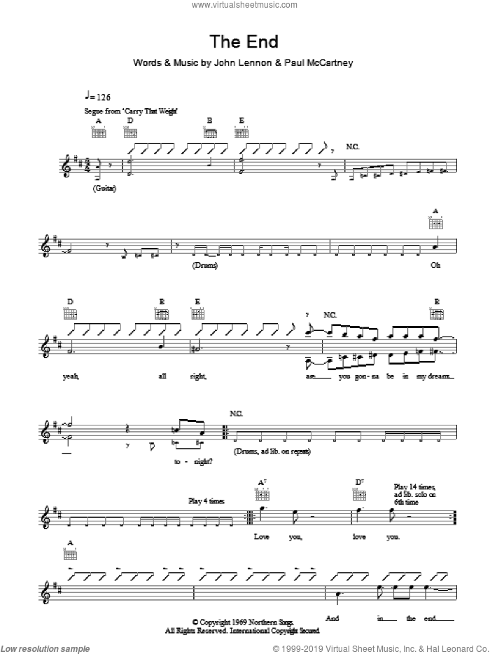 The End sheet music for voice and other instruments (fake book) by The Beatles, John Lennon and Paul McCartney, intermediate. Score Image Preview.