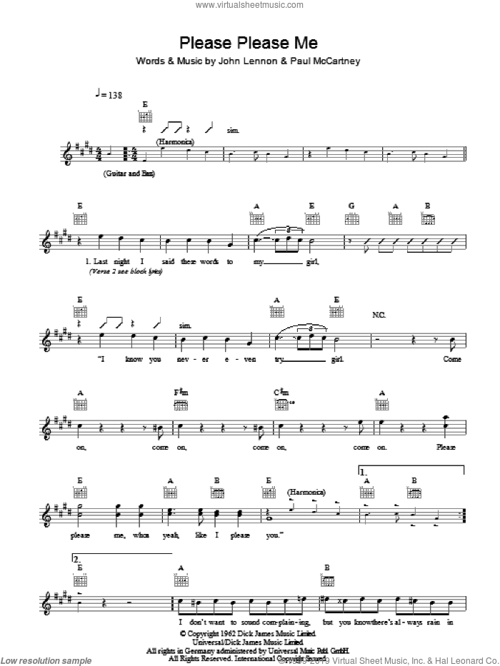 Please Please Me sheet music for voice and other instruments (fake book) by The Beatles, John Lennon and Paul McCartney, intermediate skill level