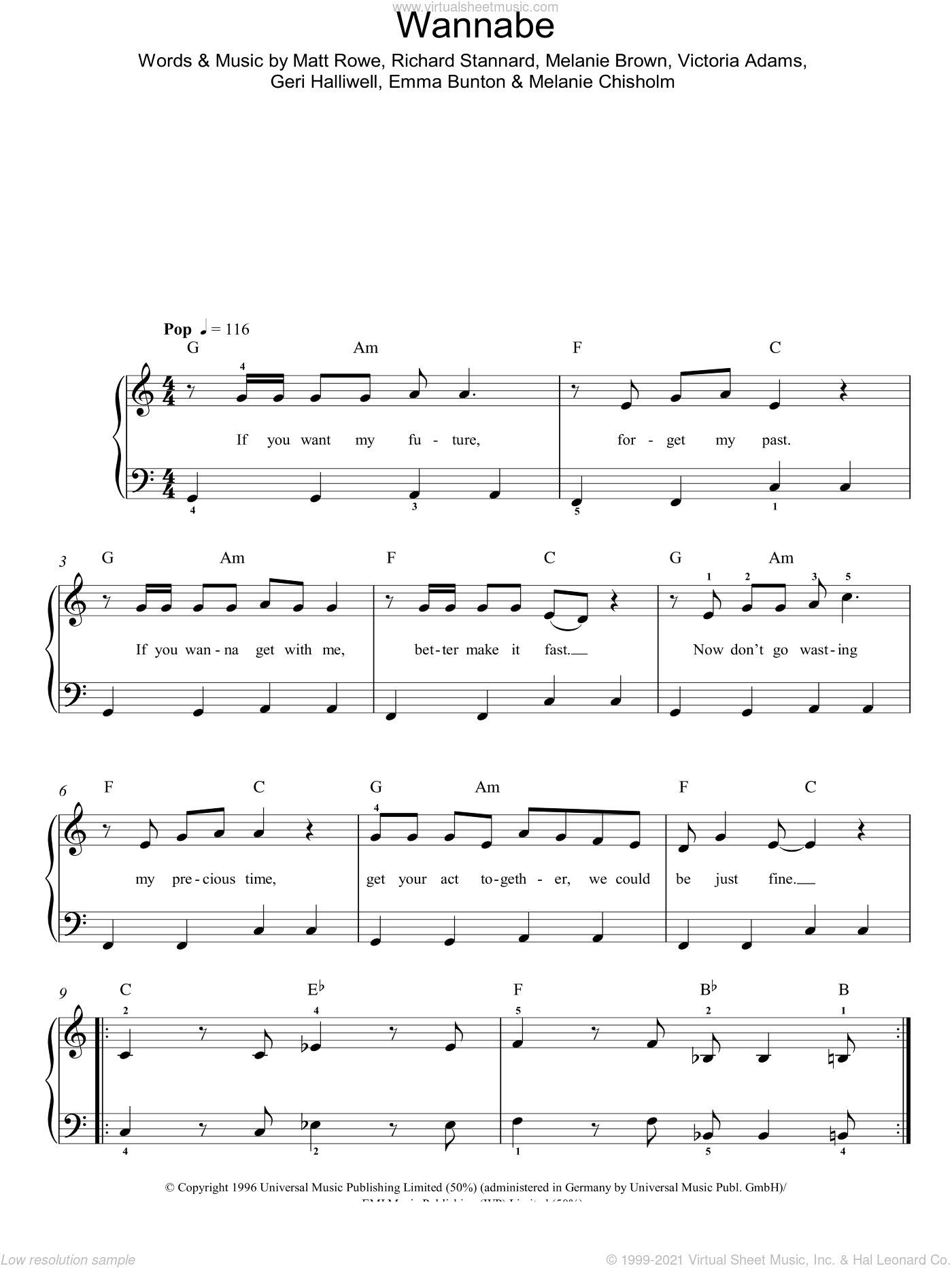 Wannabe sheet music for piano solo by The Spice Girls, Emma Bunton, Geri Halliwell, Melanie Chisholm and Richard Stannard, easy. Score Image Preview.