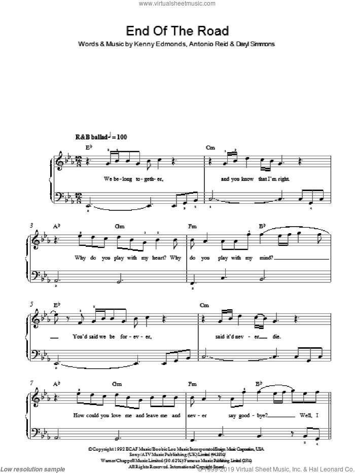 End Of The Road sheet music for piano solo by Antonio Reid, Boyz II Men, Daryl Simmons and Kenneth Edmonds. Score Image Preview.