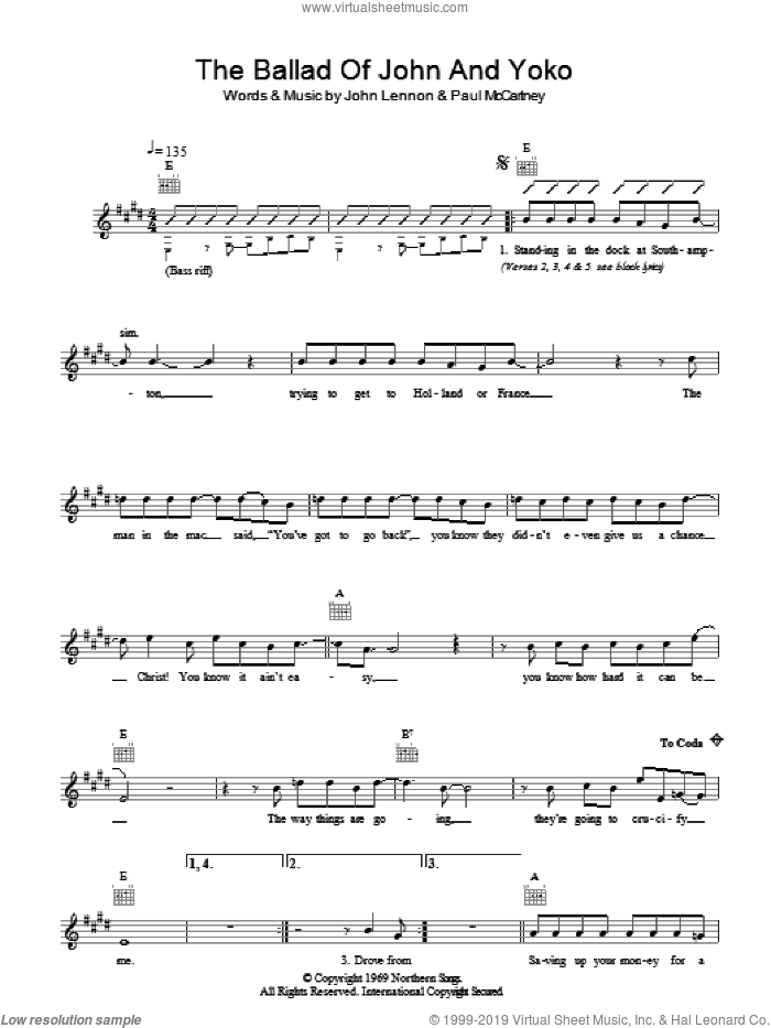 The Ballad of John and Yoko sheet music for voice and other instruments (fake book) by The Beatles, John Lennon and Paul McCartney, intermediate skill level