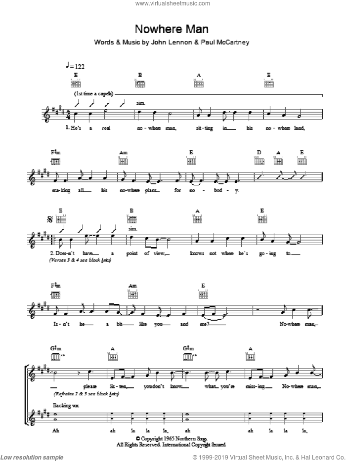 Nowhere Man sheet music for voice and other instruments (fake book) by John Lennon, The Beatles and Paul McCartney. Score Image Preview.