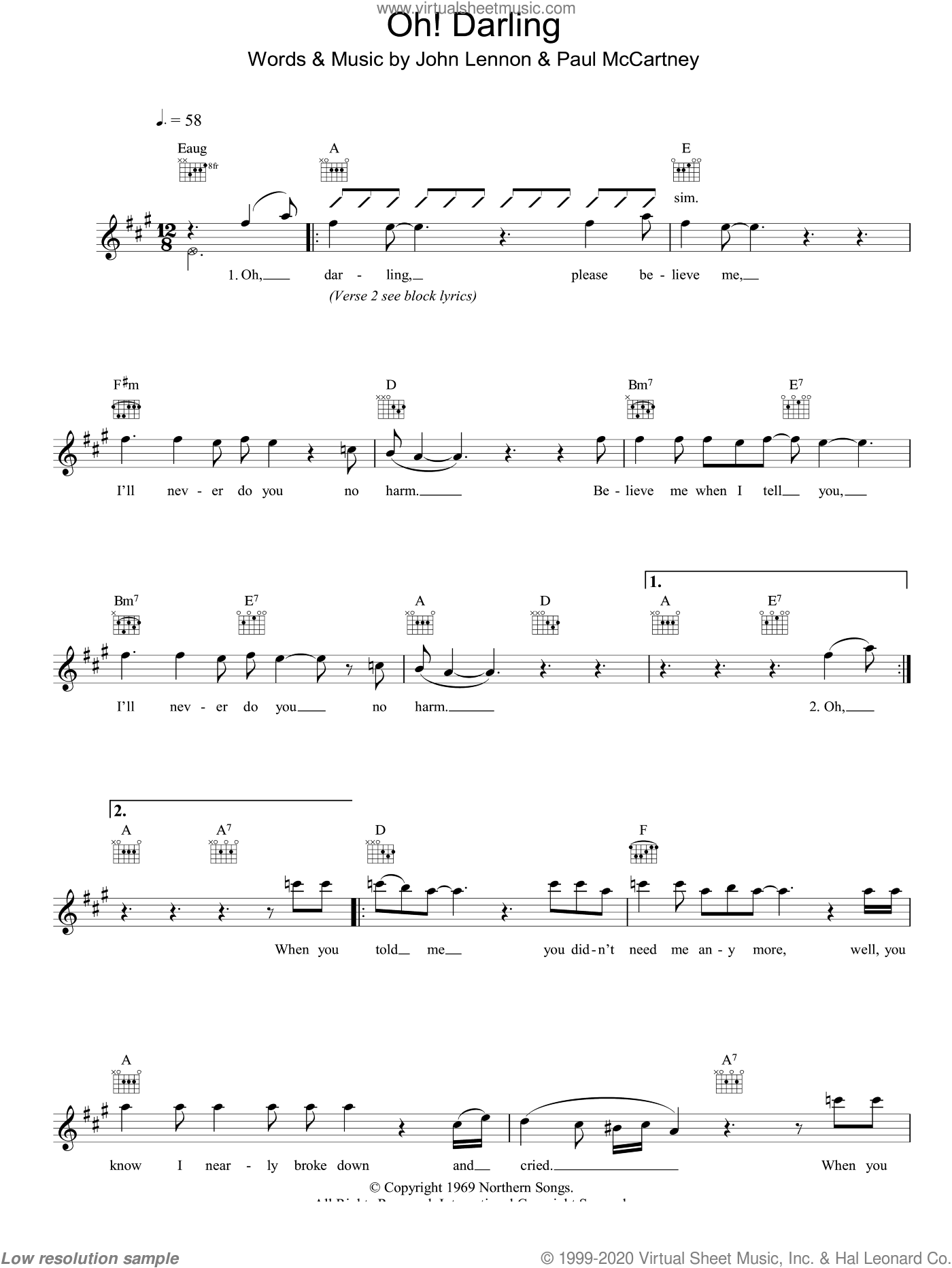 Oh! Darling sheet music for voice and other instruments (fake book) by The Beatles, John Lennon and Paul McCartney, intermediate skill level