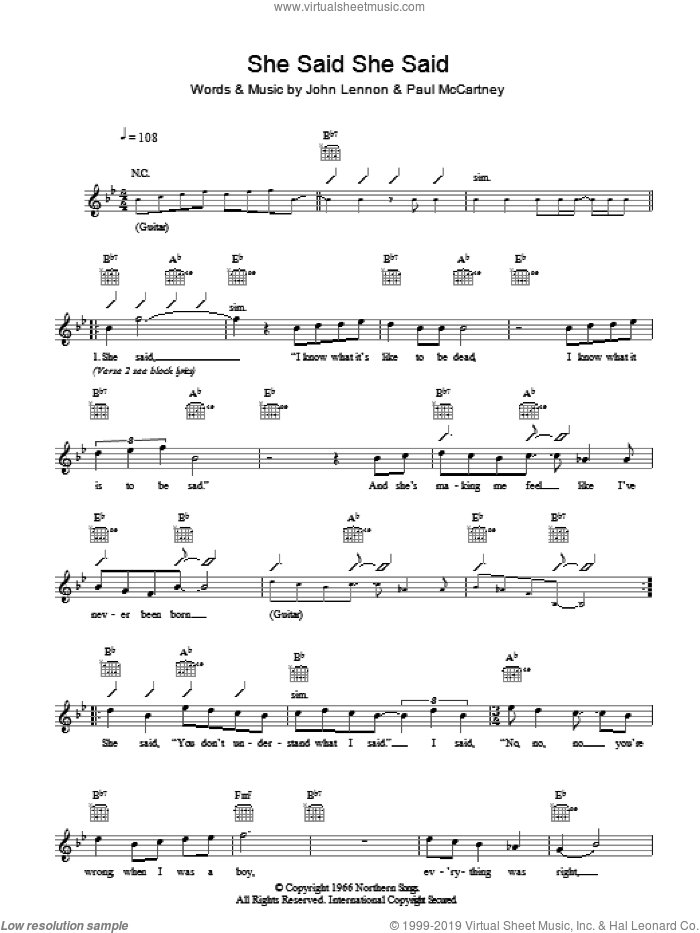 She Said She Said sheet music for voice and other instruments (fake book) by The Beatles, John Lennon and Paul McCartney, intermediate. Score Image Preview.