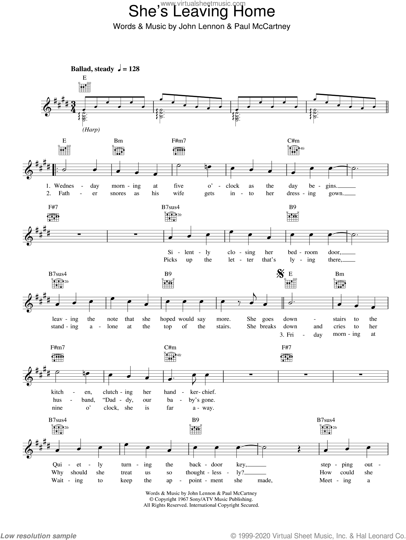 She's Leaving Home sheet music for voice and other instruments (fake book) by The Beatles, John Lennon and Paul McCartney, intermediate skill level