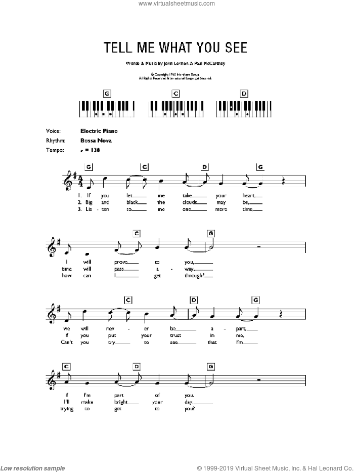 Tell Me What You See sheet music for piano solo (chords, lyrics, melody) by The Beatles, John Lennon and Paul McCartney, intermediate piano (chords, lyrics, melody). Score Image Preview.