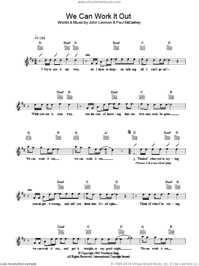 We Can Work It Out sheet music for voice and other instruments (fake book) by The Beatles, John Lennon and Paul McCartney, intermediate skill level