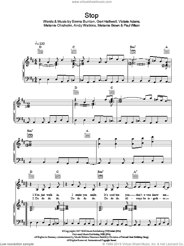 Stop sheet music for voice, piano or guitar by The Spice Girls, Andy Watkins, Emma Bunton, Geri Halliwell, Melanie Brown, Melanie Chisholm, Paul Wilson and Victoria Adams, intermediate