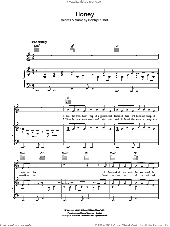 Honey sheet music for voice, piano or guitar by Bobby Russell and Bobby Goldsboro. Score Image Preview.