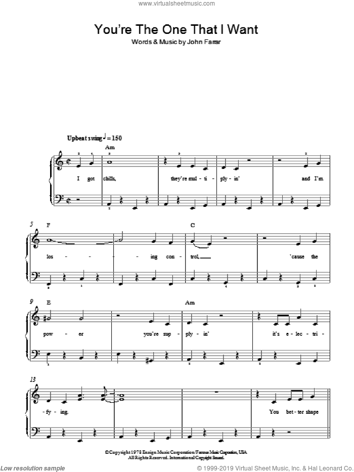 You're The One That I Want sheet music for piano solo by John Farrar. Score Image Preview.