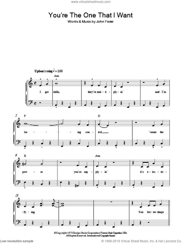 You're The One That I Want sheet music for piano solo by Olivia Newton-John and John Travolta and John Farrar, easy skill level