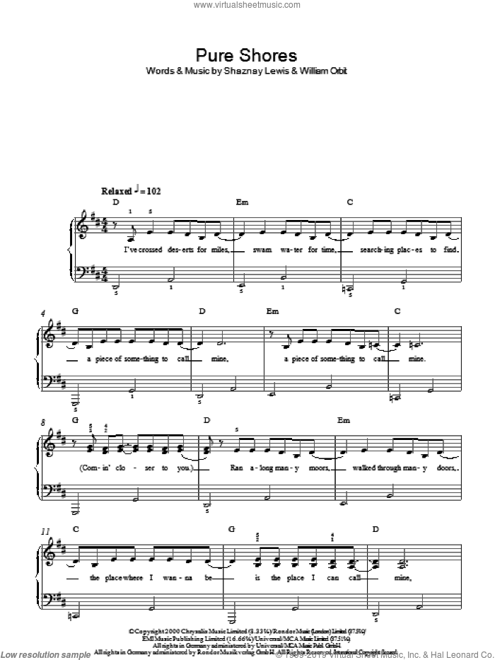 Pure Shores sheet music for piano solo by Shaznay Lewis, All Saints and William Orbit. Score Image Preview.