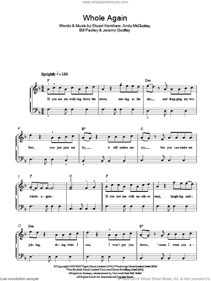 Whole Again sheet music for piano solo by Atomic Kitten, easy piano. Score Image Preview.