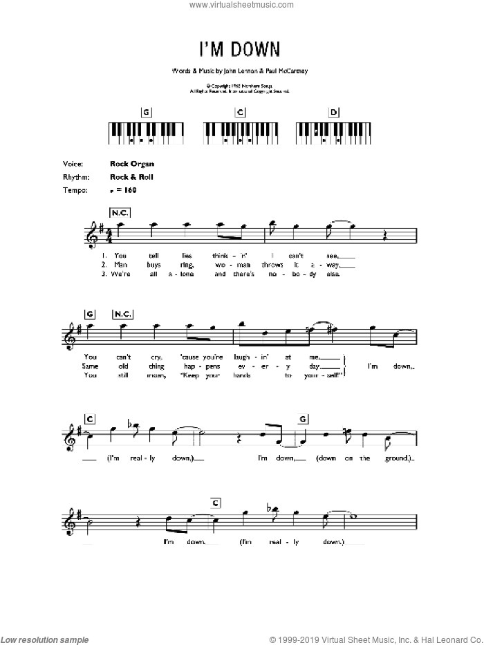 I'm Down sheet music for piano solo (chords, lyrics, melody) by The Beatles, John Lennon and Paul McCartney, intermediate piano (chords, lyrics, melody). Score Image Preview.