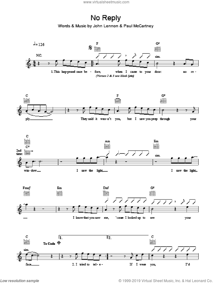 No Reply sheet music for voice and other instruments (fake book) by The Beatles, John Lennon and Paul McCartney, intermediate. Score Image Preview.