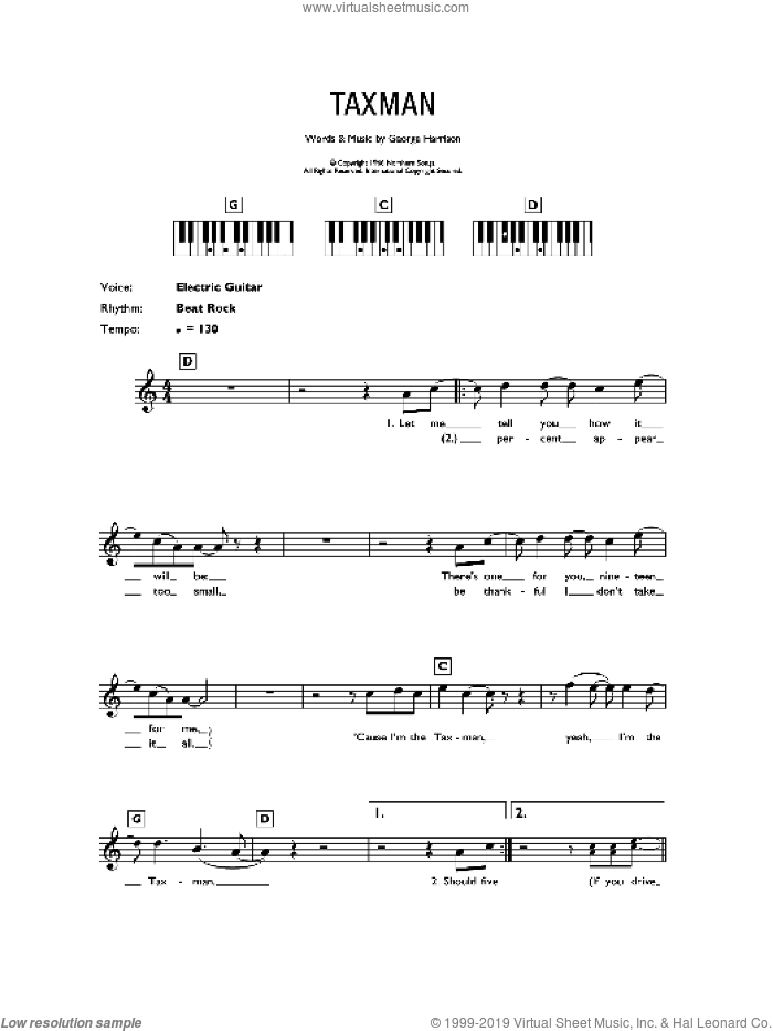 Taxman sheet music for piano solo (chords, lyrics, melody) by The Beatles and George Harrison, intermediate piano (chords, lyrics, melody)