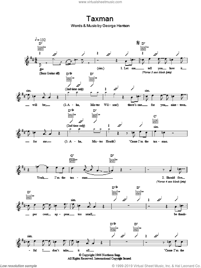 Taxman sheet music for voice and other instruments (fake book) by The Beatles and George Harrison, intermediate skill level