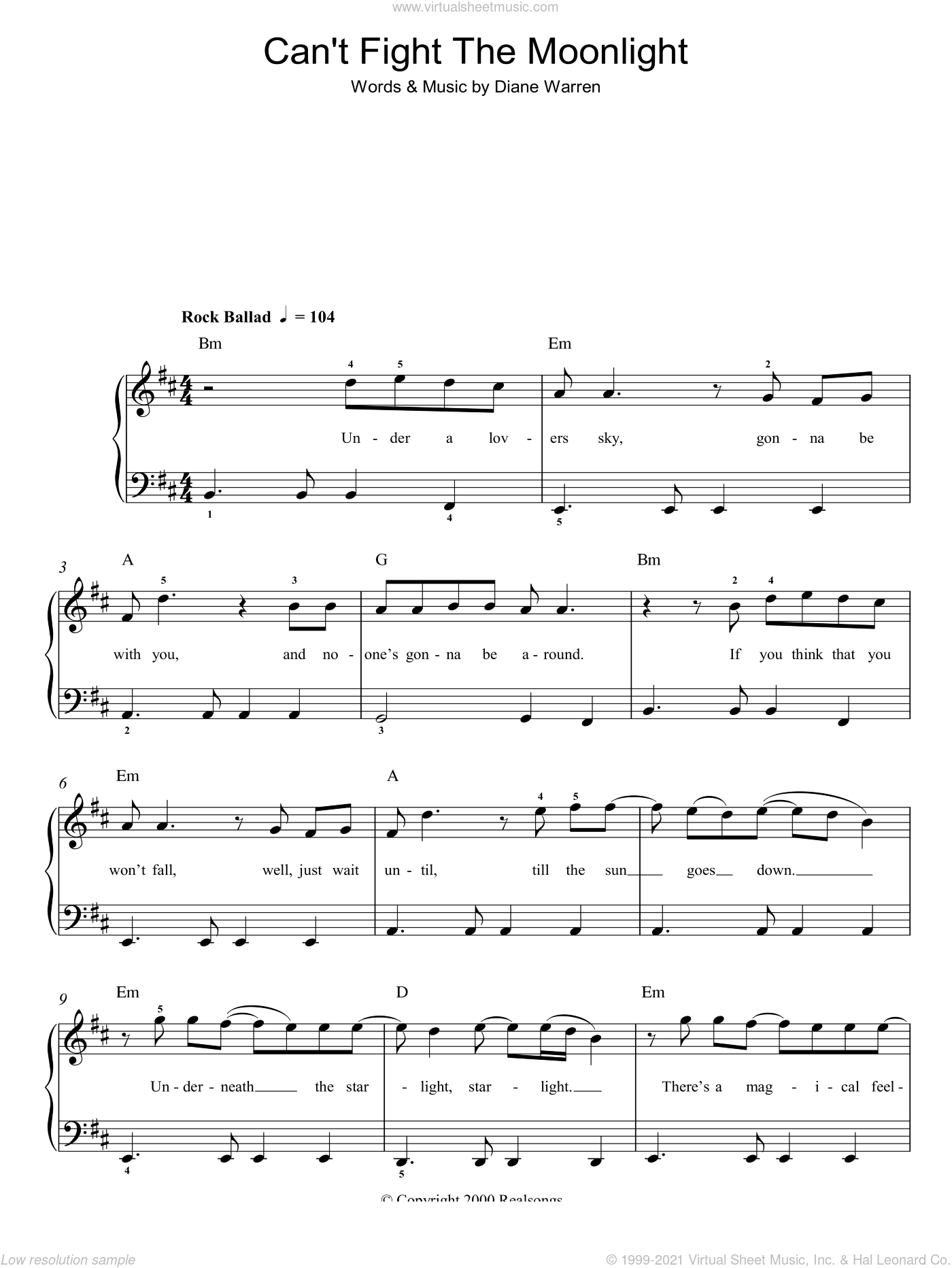 Can't Fight The Moonlight sheet music for piano solo by LeAnn Rimes and Diane Warren. Score Image Preview.