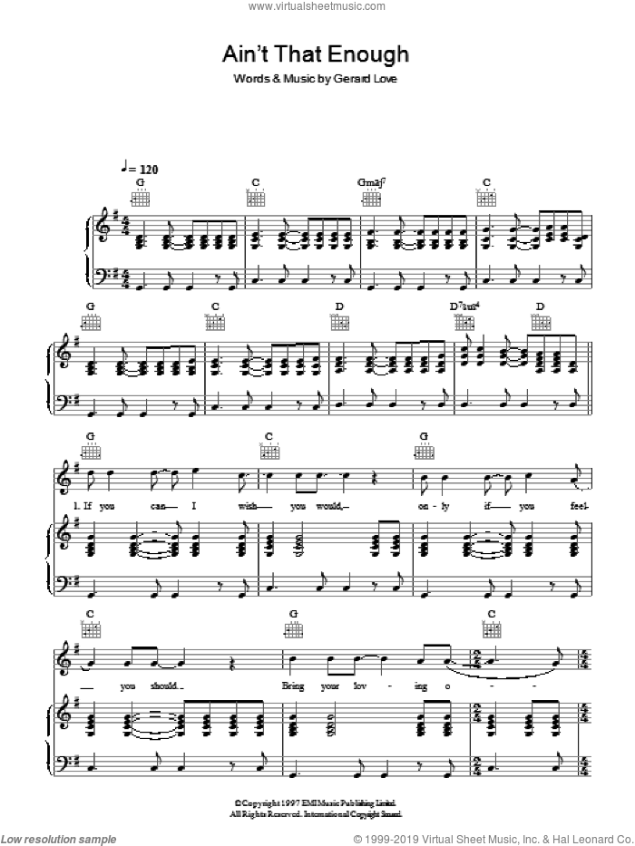 Ain't That Enough sheet music for voice, piano or guitar by Gerard Love