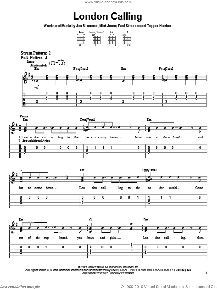 London Calling sheet music for guitar solo (easy tablature) by The Clash, Joe Strummer, Mick Jones, Paul Simonon and Topper Headon, easy guitar (easy tablature)